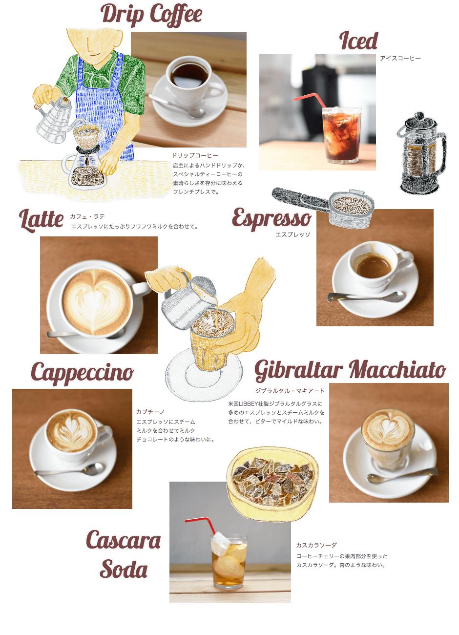 ドリップコーヒー アイスコーヒー カフェ・ラテ エスプレッソ カプチーノ ジブラルタル・マキアート カスカラソーダ